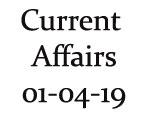 Current Affairs 1st April 2019