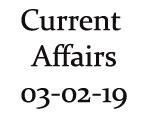 Current Affairs 3rd February 2019