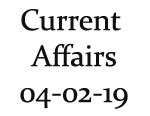 Current Affairs 4th February 2019