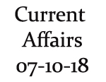 Current Affairs 7th October 2018