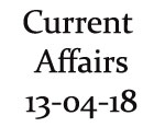 Current Affairs 13th April 2018