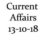 Current Affairs 13th October 2018