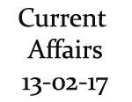 Current Affairs 13th February 2017
