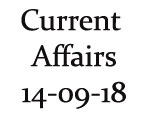 Current Affairs 14th September 2018