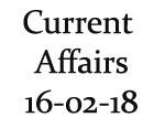 Current Affairs 16th February 2018