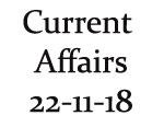 Current Affairs 22nd November 2018