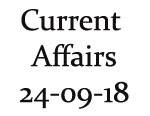 Current Affairs 24th September 2018