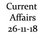 Current Affairs 26th November 2018