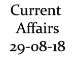 Current Affairs 29th August 2018