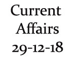 Current Affairs 29th December 2018