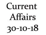 Current Affairs 30th October 2018