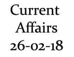 Current Affairs 26th February 2018